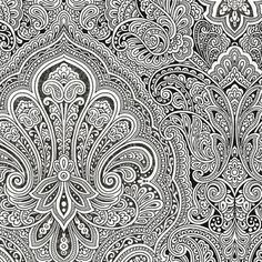 My paternal grandmother was the most important person in the world to me (after my mom). She lived in NYC, and had an eccentric, creative style. I loved visiting her. She had black and white paisley wallpaper in the entrance room in her apartment in Maspeth, not exactly like this, but it reminds me of it. - Black and White Paisley Wallpaper BW28703 Double Roll Bolts