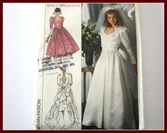 1980s Wedding Dress /Gown and Bridesmaid by VintagePatternsDepot
