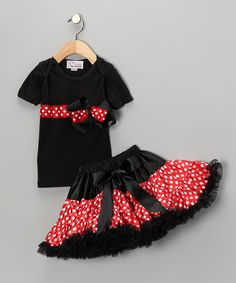 Black & Red Bow Tee & Pettiskirt - Infant, Toddler & Girls - for our trip to disneyland next summer