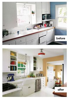 the homeowners of this 1920s cottage kitchen with lots of potential chose to build their own beadboard cabinets and finish them with antique latches.