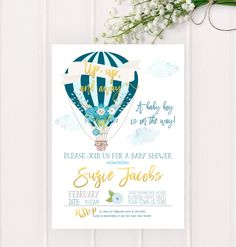 Hot Air Balloon Baby Shower Invitation, Up up and Away, Printable, Up and Away Shower Invitation, Baby Boy Teal Blue Baby Shower by SarahFinnDesign on Etsy