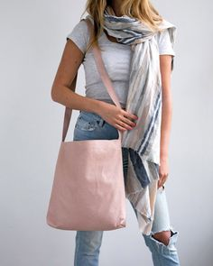 Mayko Basic | Lightweight Super Long Tote l Blush Pink Leather  * Italian leather * Clean Design * Can come in leather or Suede * Different Colors / 12