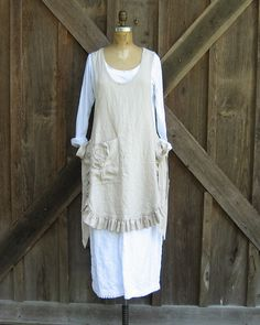 linen jumper pinafore apron dress tunic smock in von linenclothing, $139,00