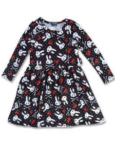 Cherries long sleeved Dress - Metallimonsters