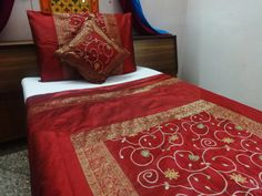 65x92 Inches Handmade Indian Bedding Twin Size Duvet Cover Set Bedspread Pillow Cushion Embroidery Patchwork