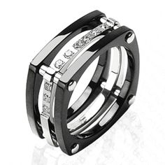 with Plated Black and CZ Stones Ring, Men's
