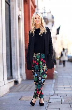 Make it work-appropriate with a blazer: If you love floral pants but you're worried about whether they work at the office, why not add a basic black blazer? Add a chic pair of black pumps and I think this look is work-appropriate.