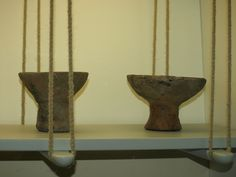 note the hanging shelves...perfect for a tent!  clay lamps. Wikinger Museum Haithabu