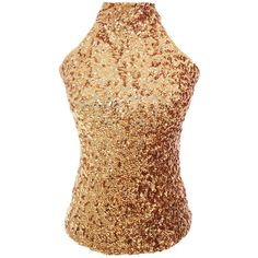 Gold Charming Ladies Sleeveless Sequined Halter Top ($16) ❤ liked on Polyvore featuring tops, gold, pinkqueen, halter top, gold top, sequin top, gold halter top and halter-neck tops