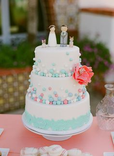 peach and mint wedding cake