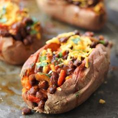 Vegetarian Black Bean Chilli-Stuffed Sweet Potatoes