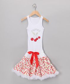 Take a look at this White Cherries Tutu Dress - Toddler & Girls by Bubblegum Diva on #zulily today!