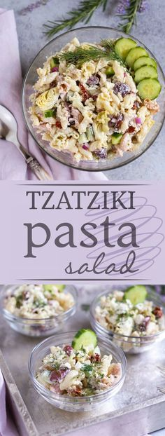 Tzatziki Pasta Salad   Cool and tangy Tzatziki Pasta Salad is the perfect side for a hot summer night! Artichokes, sun dried tomatoes, Kalamata olives, and crunchy cucumbers add just the right Greek flavors. Yum! Serve with grilled meats or chicken! Enjoy!   WorldofPastabilities.com