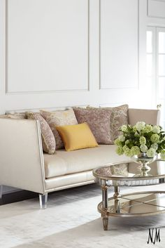 Add elegance to your living space with this Lydia Rose Sofa by Massoud. Complement with detailed throw pillows and a statement coffee table for a welcoming and sophisticated ambiance.
