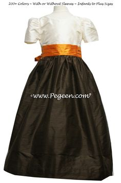 Pumpkin orange and semi-sweet brown silk flower girl dresses