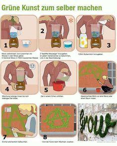 Make a graffiti of moss - Moos Graffiti | Watergel: http://www.sichtschutz-welt.de/Wassergel-75g-sw.html