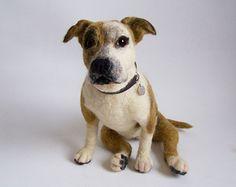 Custom Needle felted big Pit Bull portrait dog - Wool animal sculpture- eco friendly art-Collectible artist animals-art doll