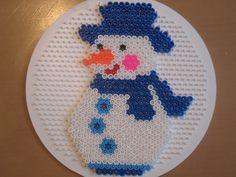 Winter snowman perler beads