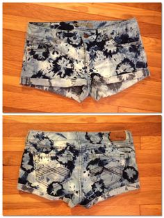 DIY tutorial for tie-dyed denim shorts with bleach!! Add red for fourth of july shorts??