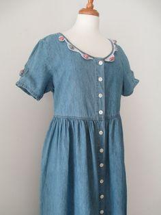 Vtg 90s TRUE BLUE Denim Blue Jean Smock Dress with Floral Appliques NiNeTies GRUNGE 90210 by LucyBlueVintage on Etsy