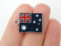 2 Australia flag charms 22 x 15mm silver tone by nicoledebruin, $2.50