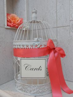 Large Round White Birdcage/Wedding/Card Holder by ThoseDays