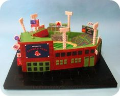 Boston Red Sox Fenway Park Striped Grass Wedding Cake --- Love the exterior brick detail as well. Gorgeous! (View #1)