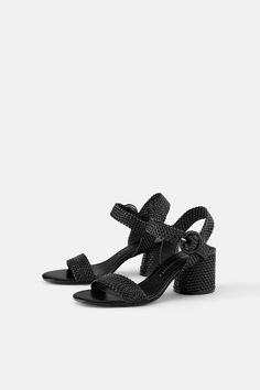 ZARA - WOMAN - WIDE HEELED WOVEN SANDALS
