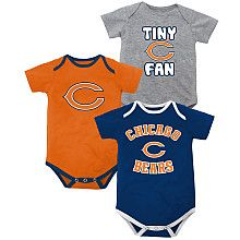 Clothing, Shoes & Accessories Fan Apparel & Souvenirs Nice Outerstuff Nfl Infant Girls Chicago Bears Assorted 3 Pack Creeper Set Available In Various Designs And Specifications For Your Selection