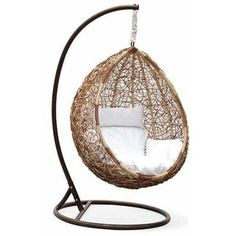 33 Awesome Outdoor Hanging Chairs DigsDigs ❤ liked on Polyvore featuring home, outdoors, patio furniture, hammocks & swings, garden swing, outside swing, outdoor patio swing, outdoor swing and patio swings