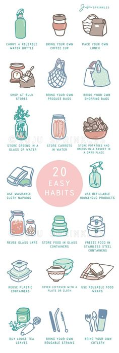20 Easy Ways To Break Your Plastic Habit - Sustainable Living - 20 Easy Ways To Break Your Plastic Habit. Low Waste Living Informations About 20 Easy Ways To Break - Vie Simple, Nachhaltiges Design, Reduce Reuse Recycle, Upcycle, Ideias Diy, Clean Living, Sustainable Living, Sustainable Ideas, Sustainable Products