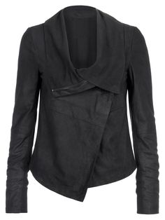 Women Black Leather Drape Jacket