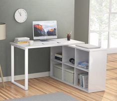 L-Shaped Desk, Tribesigns Modern Corner Computer Desk with 6 Storage Unit Combo, Reversible Table Workstation for Home Office, Wood & Metal Finish Desks For Small Spaces, Tiny Spaces, Small Desk Space, Office Spaces, Small Office, Home Office Design, Home Office Decor, Home Decor, Office Ideas
