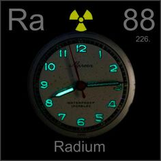 88 Radium -Ra- A shiny, silvery highly radioactive metal found in U and Th ores where it forms as a transient decay product. Formerly used to make luminous paint.