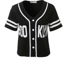 LE3NO Womens Cropped Brooklyn Baseball Button Down T Shirt