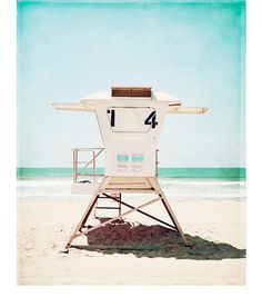 "Lifeguard Photography - beach photo pale aqua turquoise blue coastal picture light white seashore wall art seaside cream, ""Lifeguard #14"""