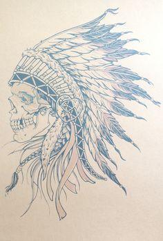 apache skull tattoo - Google Search