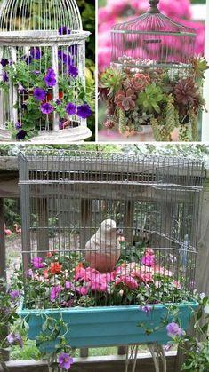 24 Creative Garden Container Ideas | Use bird cages as planters!