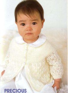 Patons Baby World Knitting Patterns - Free Baby Knitting Baby Knitting Free, Baby Cardigan Knitting Pattern Free, Baby Sweater Patterns, Baby Patterns, Crochet Dress Outfits, Knit Baby Dress, Crochet Baby Clothes, Baby Girl Cardigans, Baby Sweaters