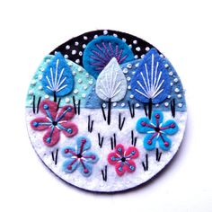 SNOWSCAPE FELT BROOCH MEASUREMENT 7cm. MATERIALS Felt Embroidery cotton Brooch pin I pay close attention to detail and as a result,