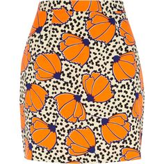 Orange polka dot floral print mini skirt from River Island Clothing