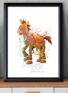 Disney Pixar Toy Story Bullseye Watercolor Poster by GenefyPrints