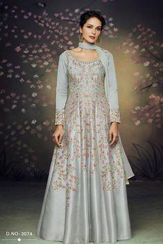 f0fff24da7 A Bunch Of 6 Fancy Fabric Stylish Embroidered Designer Full Length Party  Wear Readymade Gowns
