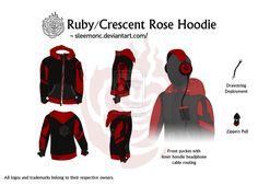 After watching the trailers for RWBY I was super hyped so I created a hoodie inspired by the character Ruby Rose. Combining both Ruby's character costum.