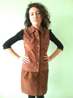 Vintage 90s Saddle Brown Suede Sleeveless by BlastFromThePastBags, $78.00