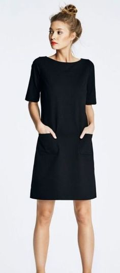 61f2d7862a Simple Black Dress And Two Pockets Ideas Simple Black Dress