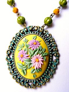 Polymer Clay Flower Necklace Yellow Floral Vintage by Sweetystuff, £30.00