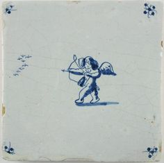 Antique Dutch Delft tile depicting Cupid hunting birds, late 17th century