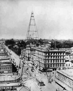 The 237 foot San Jose Electric Light Tower, built in 1881, was a combination tourist attraction and street lighting system that illuminated the City for 34 years until it collapsed from damage suffered in a wind storm. Photo: c1911