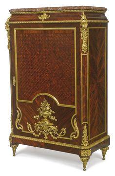 Maison G. Grimard<br>French, active late 19th century<br>A Louis XVI style gilt bronze-mounted kingwood and trellis parquetry cabinet de salon<br>Paris, last quarter 19th century   lot   Sotheby's